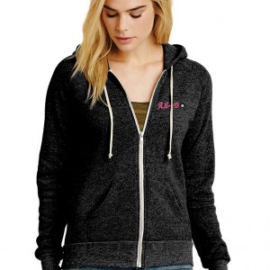 Alternative Women's Adrian Eco™ -Fleece Zip Hoodie - design Pink Left chest
